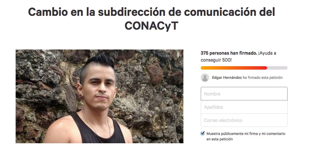 David Alexir Ledesma: Lanzan Petición Para Pedir Al Conacyt Que Remueva A