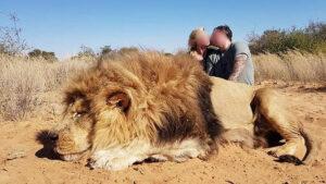 Pareja de cazadores se besan tras matar a un león criado en cautiverio