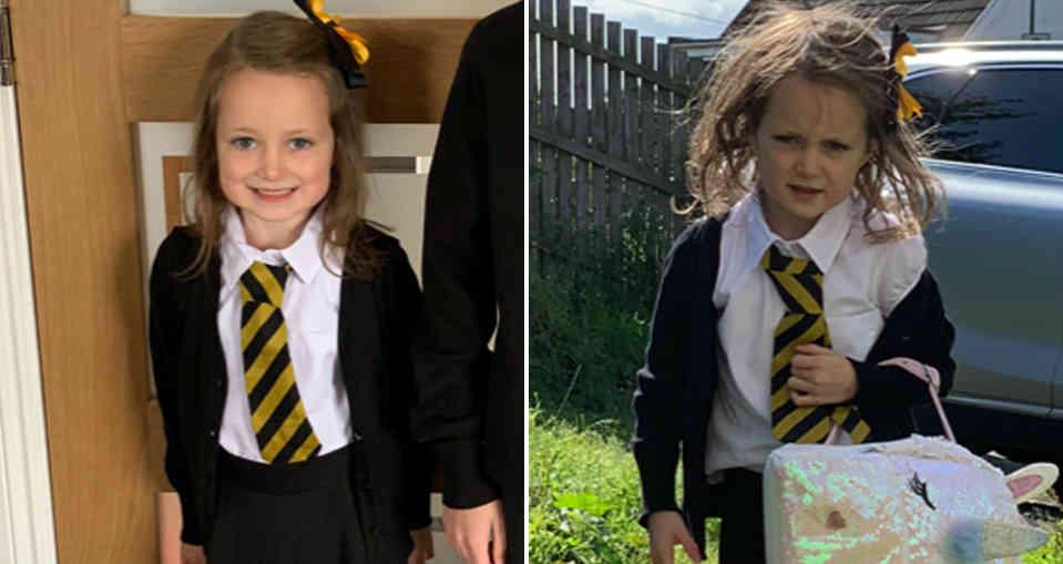 La foto del antes y después del primer día de clases de una niña se hace viral