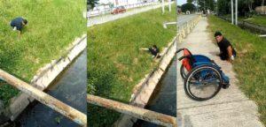 Atleta paralímpico salva a un gato que cayó en un canal de agua