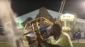 Dos hombres libran la muerte cuando el cable de un juego colapsa antes de ser catapultados