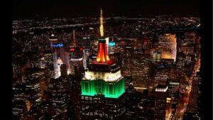 El Empire State se ilumina de verde, blanco y rojo por la Independencia de México