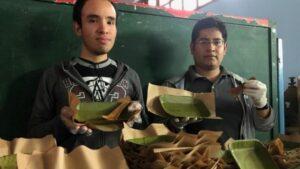 Jóvenes crean platos biodegradables hechos a base de hojas de plátano