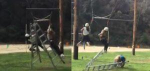 Hombre provoca un accidente al jalar una cuerda y recibe un golpe en la cabeza por su descuido