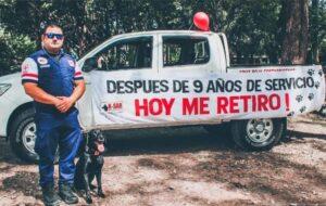 Perrito se jubila después de nueve años de servicio en la Cruz Roja