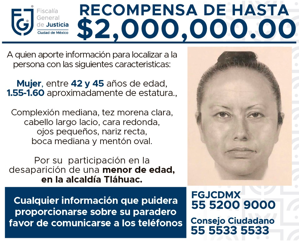 Difunden retrato hablado de presunta secuestradora de Fátima