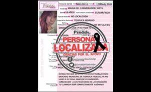 Hallan muerta a María del Carmen, reportada como desaparecida en Tizayuca, Hidalgo