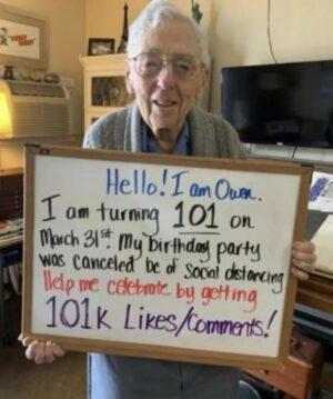 Anciano recibe sorpresa tras cancelar su fiesta de cumpleaños por cuarentena