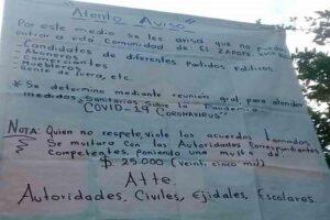 Comunidad en Hidalgo multará con 25 mil pesos a visitantes por no respetar cuarentena