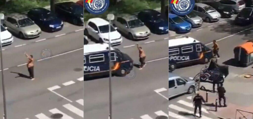 Sujeto ataca a dos policías con unas catanas en calles de Madrid