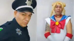 """Decomisan uniforme de policía a hombre que se hizo viral por """"transformarse"""" en Sailor Moon"""