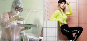 Enfermera rusa que atendió a pacientes con una bata transparente se convierte en la imagen de una marca deportiva