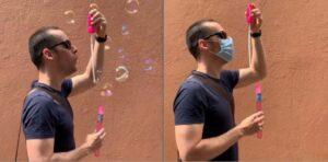 Investigador de la UNAM explica con burbujas de jabón la importancia de usar cubrebocas