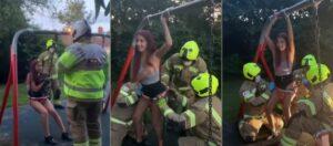 Adolescente queda atrapada en un columpio para bebés mientras grababa un video para TikTok