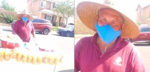 Joven afroamericano sorprende a elotero mexicano y le compra toda su mercancía