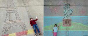 """Hermanos recrean ciudades con dibujos para """"viajar"""" durante la cuarentena"""