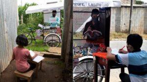 Profesor usa triciclo para dar clases a alumnos que no cuentan con Internet