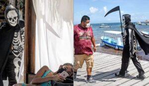 """""""La Muerte"""" recorre playas de Quintan Roo para pedir a turistas que vuelvan a casa"""