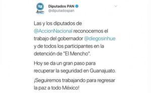 """Diputados del PAN se equivocan y festejan detención de """"El Mencho"""""""