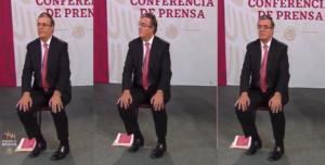 Los gestos de Marcelo Ebrard mientras AMLO defendía a López-Gatell